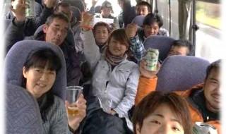出発のバスの中